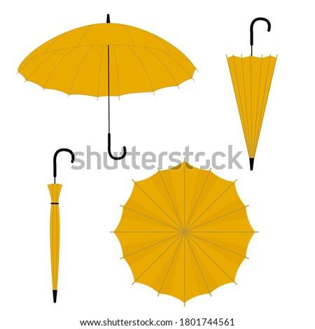 Vector set of umbrellas. Different type of umbrellas: open and closed cane. Flat vector yellow ambrella illustrationon on white background