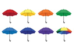 Vector set of 7 umbrellas of all colors of the rainbow and one multi-colored. Use for design, concept, print. EPS10