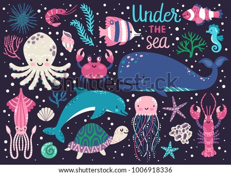 vector set of underwater