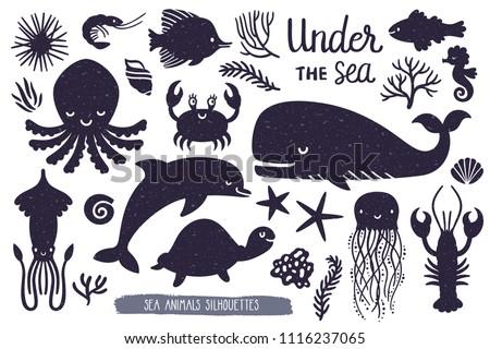 vector set of underwater