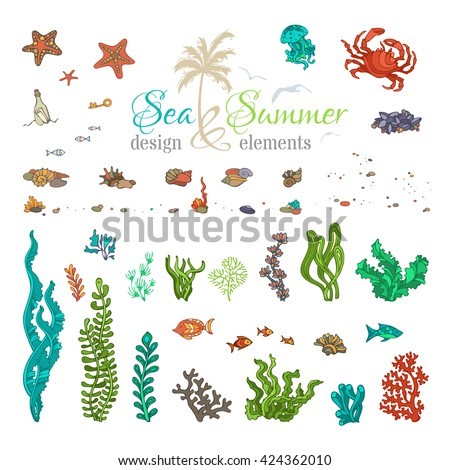 vector set of underwater sea
