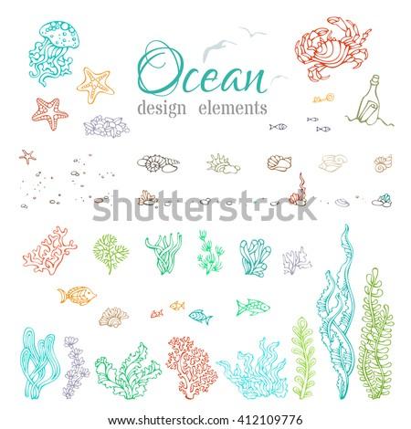 vector set of underwater sea
