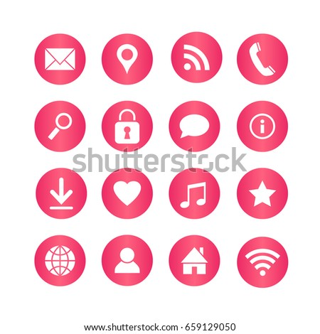 Vector set of universal web icons for media, communication, business, mobile. #659129050