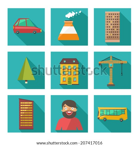 Vector set of urban city icons in flat design on square buttons