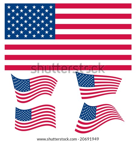Vector set of US flag graphics - stock vector