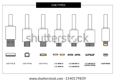 Vector set of usb computer universal connectors: mini, micro, lightning, type A, B, C.  Computer and mobile plugs design. Vector illustration.-Vector. Flat outline illustration with usb connectors and Сток-фото ©