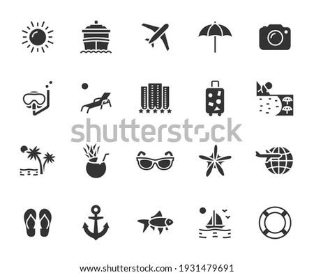 Vector set of vacation flat icons. Contains icons hotel, cruise ship, travel, luggage, beach, snorkeling, cocktail and more. Pixel perfect.