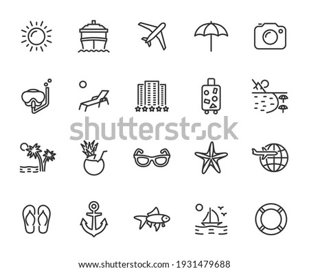 Vector set of vacation line icons. Contains icons hotel, cruise ship, travel, luggage, beach, snorkeling, cocktail and more. Pixel perfect.