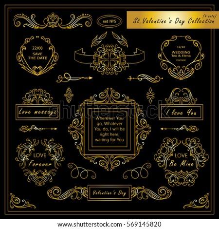 Vector set of Valentine day vintage elements for design. Ornamental frame, borders, monogram, corners, square, ribbon, arrows. Valentines day vignette. Premium black and gold style