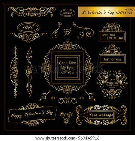 Vector set of Valentine day vintage elements for design. Ornamental frame, borders, monogram, corners, square, ribbon, arrows. Valentines day vignette. Premium black and gold style