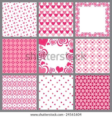 Vector set of Valentine heart patterns