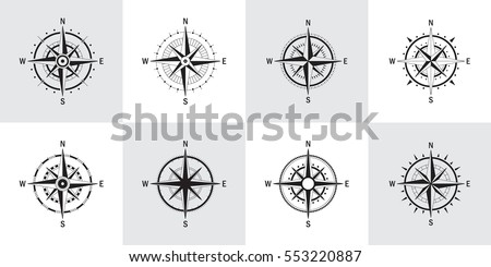 Vector set of variations of the geo mark Wind Rose. Vector compass. Rose Wind in lineal style. Perfect image for Columbus Day.