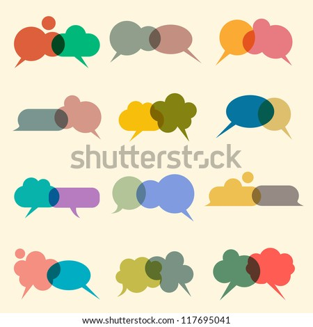 Vector set of various bubbles for speech