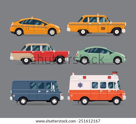 Vector set of various city urban traffic vehicles icons featuring yellow modern and retro taxi cabs, old fashioned vintage car, hybrid car, cargo delivery van, ambulance. Side view, isolated
