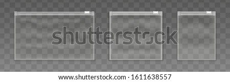 Vector set of various closed empty transparent plastic zipper bag isolated on transparent background.