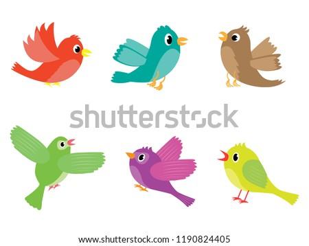 Stock Photo Vector set of various colored cartoon birds
