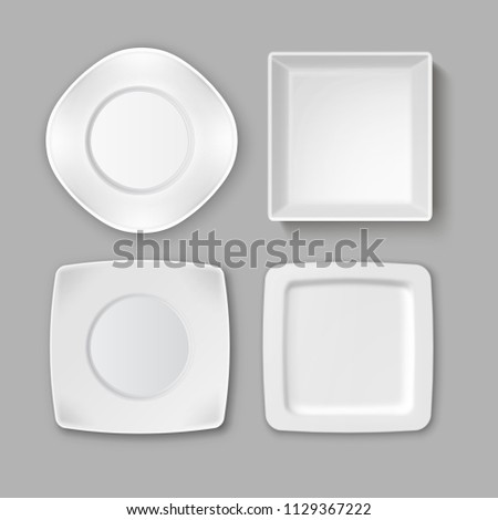 Vector set of various empty square white plates and bowl isolated on gray background, top view #1129367222