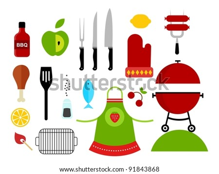 Vector set of various food barbecue icons