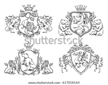 Vector set of various heraldic shields with different heraldic animals: bears, lions, dragons and unicorns in the center on a white background. Coat of arms, heraldry, emblem, symbol. Line art.