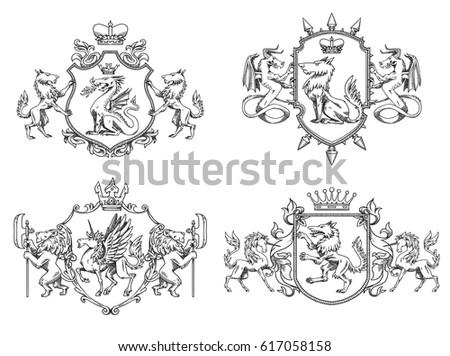 vector set of various heraldic