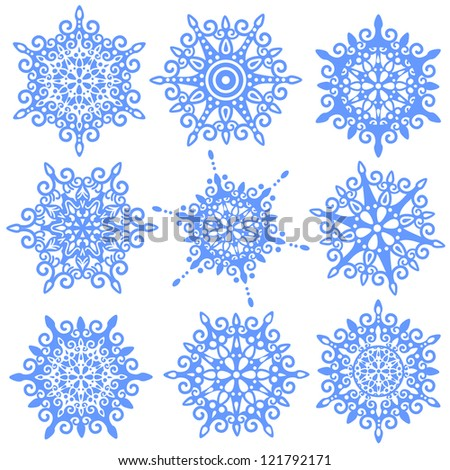 vector set of various ornate snowflakes