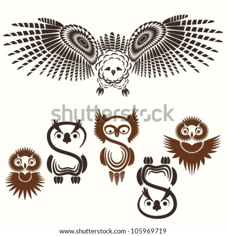 Vector set of various Owls