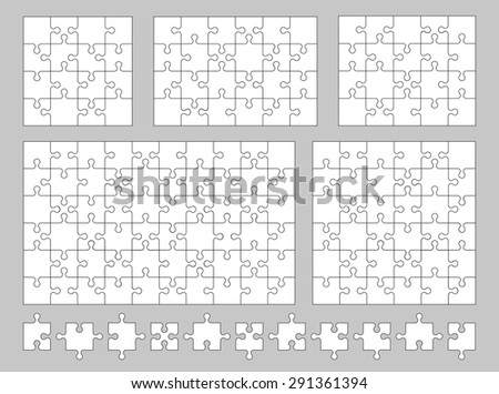 Vector set of various puzzles and jigsaw pieces. 16, 24, 25, 36 and 60 pieces. Vector illustration.