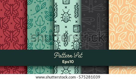 Vector set of various seamless natural patterns