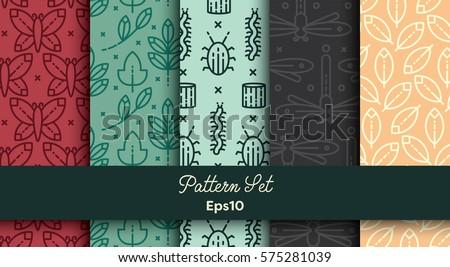 Vector set of various seamless natural patterns #575281039