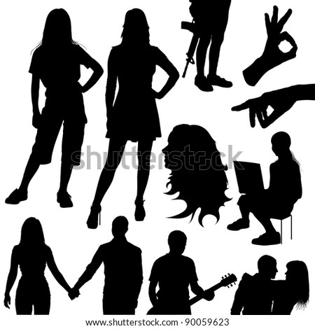 vector set of various silhouettes of people on white background - stock vector