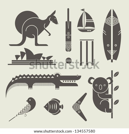 Vector set of various stylized australia icons