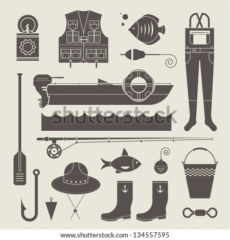 Vector set of various stylized icons for fishing