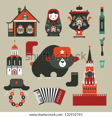 Vector set of various stylized russian icons