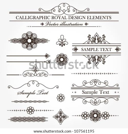 Vector set of various useful calligraphic design elements