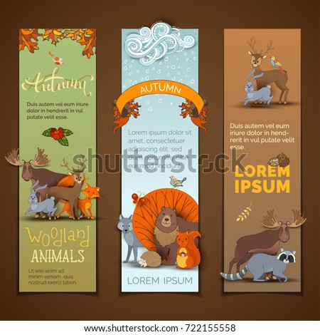 vector set of vertical autumn