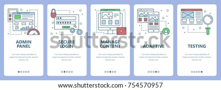 Vector set of vertical banners with Admin panel, Secure login, Manage content, Adaptive and Testing concept web elements. Modern thin line flat symbols, icons for website menu, print.