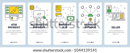 Vector set of vertical banners with ATM payment, Alternative payment, Payment slip, Payment options, Seller website templates. Modern thin line flat style design.