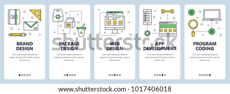 Vector set of vertical banners with Brand design, Package design, Web design, App development, Program coding concept website templates. Modern thin line flat style design.