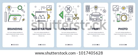 Vector set of vertical banners with Branding, Illustration, Packaging, Print and Photo concept website templates. Modern thin line flat style design elements for web, print.