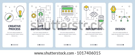 Vector set of vertical banners with Creative process, App development, Prototyping, Perception, Design website templates. Modern thin line flat style design.