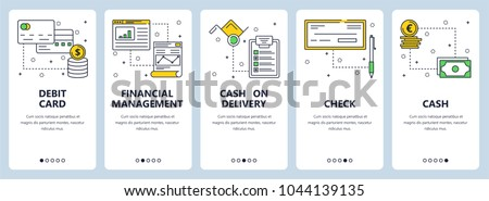 Vector set of vertical banners with Debit card, Financial management, Cash on delivery, Check, Cash website templates. Modern thin line flat style design.