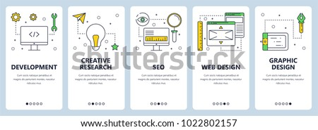Vector set of vertical banners with Development, Creative research, SEO, Web design, Graphic design website templates. Modern thin line flat style design.