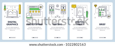 Vector set of vertical banners with Digital graphics, Prototyping, Testing, Digital tablet, Brief website templates. Modern thin line flat style design.