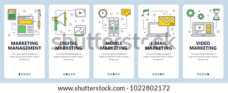 Vector set of vertical banners with Marketing management, Digital, Mobile, E-mail and Video Marketing website templates. Modern thin line flat style design.