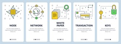 Vector set of vertical banners with Node, Network, White paper, Transaction, Keys concept website templates. Modern thin line flat style design.