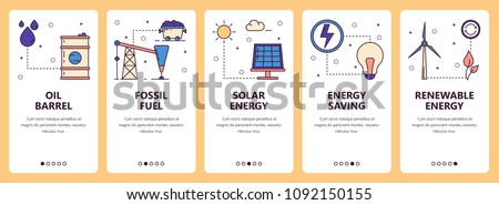 Vector set of vertical banners with Oil barrel, Fossil fuel, Solar energy, Energy saving, Renewable energy website and mobile app templates. Modern thin line flat style design.