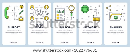 Shutterstock Vector set of vertical banners with Support, Team work, Search, Network, Sharing website templates. Modern thin line flat style design.