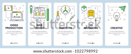 Vector set of vertical banners with Video production, Web design, Logotype, 3d modelling, Creative website templates. Modern thin line flat style design.