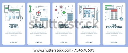 Vector set of vertical banners with Visual sketch, Object settings, Objects editing, Prototype, File processing concept web elements. Modern thin line flat symbols, icons for website menu, print.
