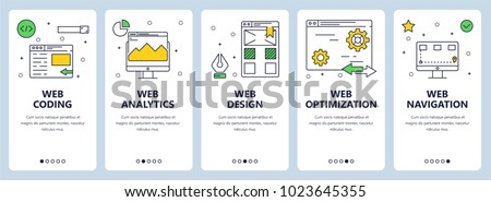 Vector set of vertical banners with Web coding, analytics, design, navigation and web optimization website templates. Modern thin line flat style design.